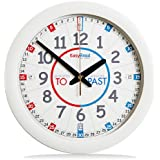 EasyRead Time Teacher Children's Wall Clock (Blue) with simple 3-step time teaching system, 29 cm dia, learning to tell the time, ages 5-12, Mini Classroom Clock