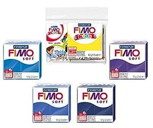 Staedtler 8020 AMZ 06 - Fimo Soft Modelliermasse, 4 Blöcke a 57 g, 1 Block a 42 g, blautöne