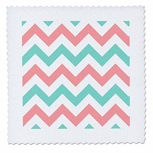 3dRose Coral Pink und Türkis Chevron Zig Zag Muster-Blaugrün Zickzack gestreift, Quilt, Platz, 8von 8Zoll (QS 179801_ 3) (Chevron-stoff Coral)