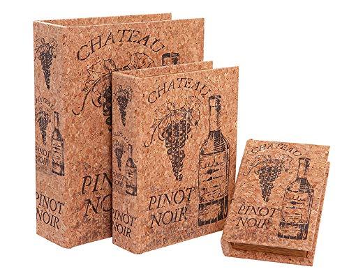 Alice's Collection Set 3 Boxen - Bücher aus MDF & Kork Finish - Weinflaschendesign - 30 x 24 x 8 cm, XXL -