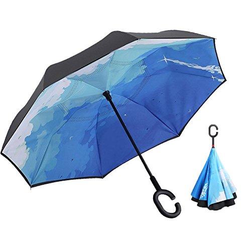 Xiao Mo Gu creativo doppio strato Inverted ombrello auto Reverse Umbrella, Antivento Protezione UV ombrello invertita per auto pioggia Outdoor mani libere manico con borsa per il trasporto, Blue