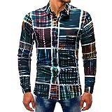 Oliviavan,Uomo moda stampato camicetta Casual maniche lunghe Camicie Slim Top Top in cotone a maniche lunghe stile fashion