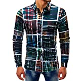 VEMOW Sommer Herbst Frühling Männer Business Hem Fashion Printed Bluse Casual Arbeit Dating Langarm Slim Shirts Tops(Mehrfarbig 4, EU-60/CN-5XL)