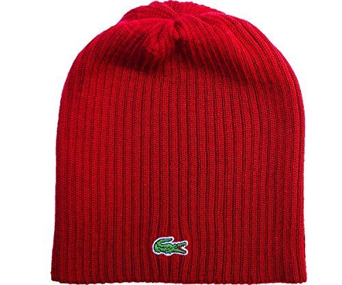 9aae9450712 Lacoste 0886619340382 Mens Wool Knit Ribbed Beanie Hat In Cinnabar Rb3504  One Size- Price in India