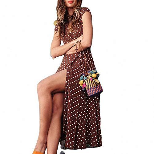 FeiXing158 Sommermode lässig drucken böhmischen V-Ausschnitt knöchellangen Kleid asymmetrische Silhouette Punktmuster Animal Print Faux Wrap