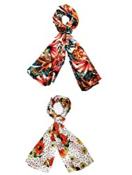 Republic Day Sale- Set of two small trendy Stoles, multicolored - Prin...
