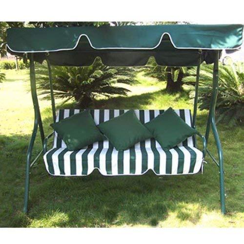 *Loywe Hollywoodschaukel Gartenschaukel Schaukelbank 3-Sitzer mit Dach Stahlgestell,Grün 170x115x156cm JL12*