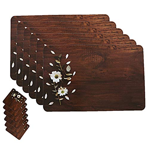 Kuber Industries Wooden Design Floral PVC 6 Piece Dining Table Placemat Set with Tea Coasters - Multicolour