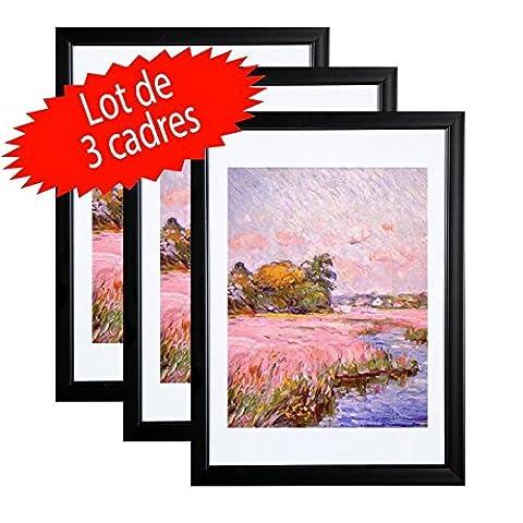 Lot de 3 Cadres photos Noir A4 (21x29.7 cm) -