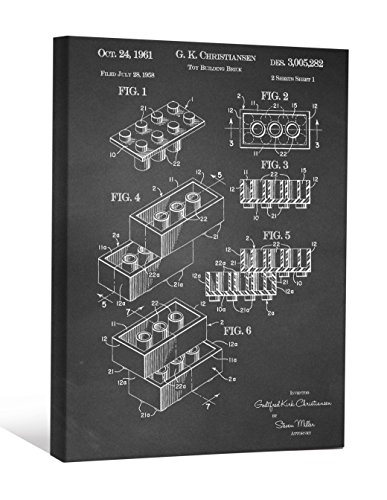 JP London scnvjsc25Block Stück Brick Lego Kunst 5,1cm Dick Vintage Kreidetafel Galerie Wrap Leinwand Patent Art, 40,6x 30,5cm schwarz/weiß (Portfolio Wallpaper)