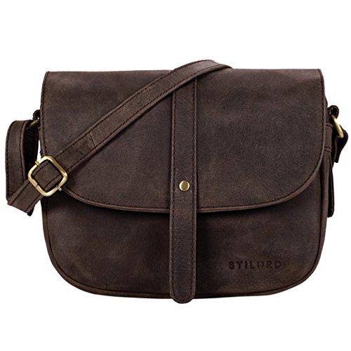 STILORD Kira Borsetta in pelle da donna borsa a tracolla vintage borsa a mano piccola spalla saccoccia di vera pelle, Colore:siena - marrone marrone - moscato