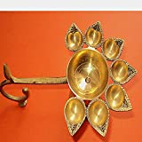 Aone India Diwali Brass Oil Hindu Puja Camphor Burner Lamp Panch Aarti - 7 Face For Puja