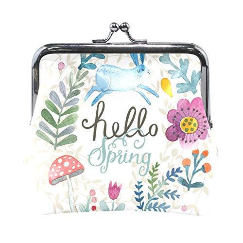 Bonipe Hello Spring Rabbit mit Pilz-Münzen-Geldbörse Leder Mini Clutch Tasche für Frauen Mädchen (Kinder Für Halloween-malerei-ideen)