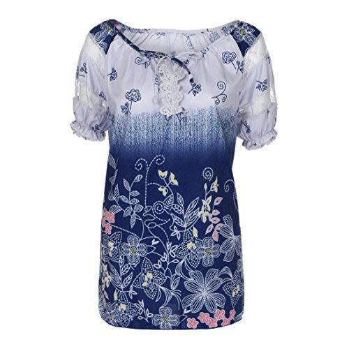n Spitze Tops Frauen Kurzarm V-Ausschnitt Spitze Gedruckte Lose T-Shirt Bluse Oberteile Tees Shirt(Violett,XL) (Tanz Kostüme Strapse)