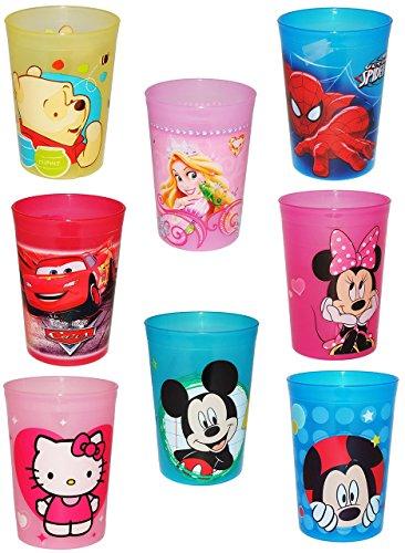 """"""" Jungen Motiv """" - 3 in 1 - Trinkbecher / Zahnputzbecher / Malbecher - Trinkglas - Becher durchsichtig aus Kunststoff Plastik - für Kinder - Kindergeschirr - Kinderbecher / Kinderglas - Mickey Mouse - Pooh - Spiderman - Cars"""
