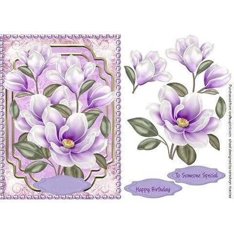 Diseño de morado Magnolias con perlas, by Ceredwyn Macrae