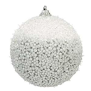 Eurofirany SW/B/EMMA/2-1 6 Weihnachtskugelnwunderschöne Baumschmuck, Kugel Durchmesser 10 cm, weiß/silber