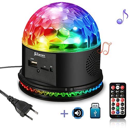 LED Discokugel, SOLMORE Musik Discolampe Partylicht Discolicht Magic Ball RGB 48 LEDs mit Fernbedienung und U-Disk für Kinder Weihnachten Partei