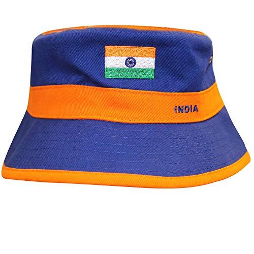india Unisex Cricket-Hut mit Indienflagge, 100% Baumwolle und Erwachsenengröße