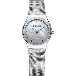 Bering Women's 24mm Steel Bracelet & Case Sapphire Crystal Quartz White Dial Analog Watch 12924-000