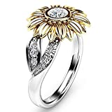 Blitz Deal Ring ICHQ, Classic Lady Two Tone Silber Floral Ring Diamant Gold Sunflower Schmuck Geschenk Diamant Ringe Hochzeit Engagement Schmuck (Silber, 7)