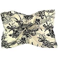 Bees Knees Fashion - Sciarpa - Devore velluto di seta ecru nero con stampa floreale belle sciarpa