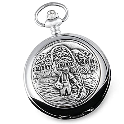Boyfriend Xmas Gift, Engraved Mother of Pearl Pocket Watch with Pewter Fly Fishing Case in Gift Box from The Great Gifts Company