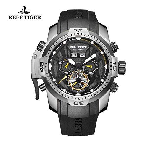 Reef Tiger caso luminoso sport acciaio automatico orologio per uomini RGA3532