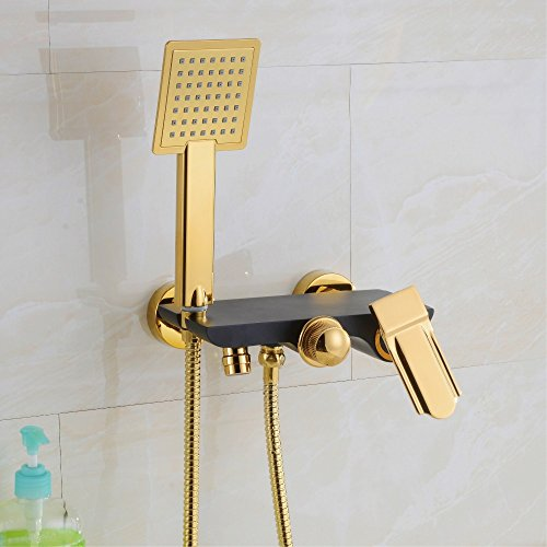 Luxurious shower Messing antik Handheld Badewanne Duschkopf Water-Saving Vergoldet schwarze Hand Dusche Badezimmer Dusche Badewanne Armatur Mischbatterie, Gelb (Handheld-duschkopf Antik)