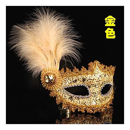 SCLMJ Halloween Party Maske Spitze Gemalt Feder Maske Kostüm Party, Golden -