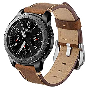 BZLine leather replacement watch strap for Samsung Galaxy Watch 42 mm 46 mm Smartwatch Bluetooth robust and durable easy to adjust strap length: approx. 220 mm band width: 20 mm / 22 mm.