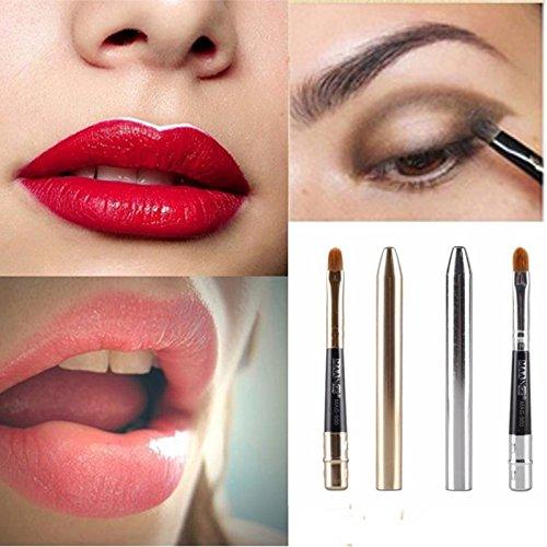 Bureze 2 couleurs Portable à lèvres Brosse Argent Doré Poudre Fond de Teint Fard à paupières Eyeliner Outil de maquillage
