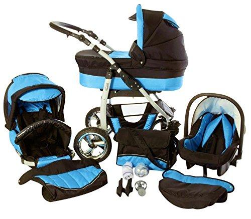 Chilly Kids Dino 3 in 1 Kinderwagen Set (Autosit & Adapter, Regenschutz, Moskitonetz, Schwenkräder) 30 Schwarz & Türkis
