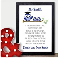 Best Teacher Gift - Thank You Gift for Teacher Personalised Poem Presents - Thank You Gifts for Teachers, Teaching Assistants, TA, Nursery Teachers - ANY NAMES - A5, A4 Prints and Frames