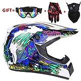 YXNB® Profi-Motorradhelm-Set Road Race Offroad-Helm MTB Downhill ATV-Helm-Set Unisex-Vollvisierhelm für Erwachsene mit Schutzbrille, Handschuhen, Maske, (S, M, L, XL) Größe,A,L58~59cm