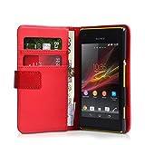 Sony Xperia M Tasche Rot PU Leder Brieftasche Hülle