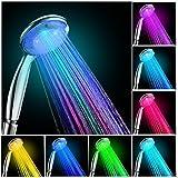 LED Duschkopf mit Farbwechsel,Restbuy Handbrause Mehrfarbig Duschbrause Bunt Leuchtung Automatic Wellnessbrause für Badezimmer
