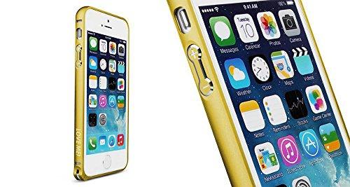 [Bamboo] Ultra-mince 0.7MM Bombée Hippocampus boucle Aluminium métal Bumper Smart Cover Étui Housse Coque Pour Apple Iphone 5 Apple Iphone 5S,Argent Or