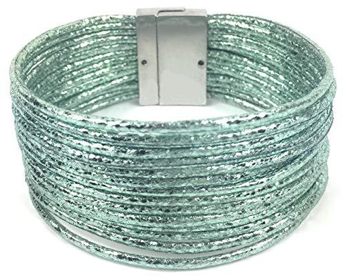Wickelarmband Damen einfach Magnetverschluss Schnüre Metallic Einfarbig Glitzer (Mintgrün)