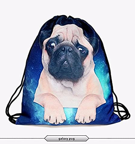 Leah's fashion® Goggy & Kitty Gym Drawstring Backpack String Bag 3D Sackpack for Girls by Leah's fashion (blue pug)