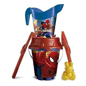 Spiderman- Set Cubo Castillo de 18 cm con regadera (Mondo 312013)