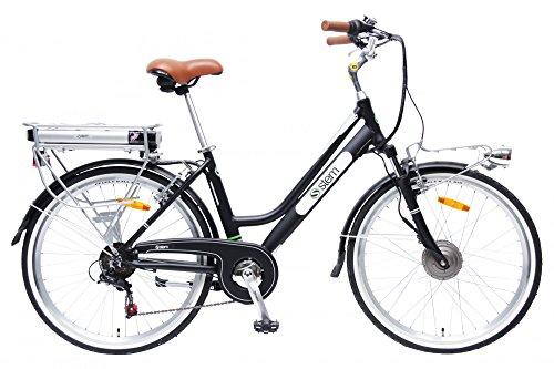 STEM Elektrofahrrad E-Bike Samsung Lithium Akku 26\' 250W Shimano 6-Gang Elektromotor inkl. USB, Farbe:schwarz