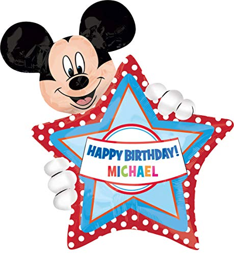 amscan 2636401 Folienballon SuperShape Micky Maus Birthday Personalisierbar, Mehrfarbig (Happy Birthday Mickey)