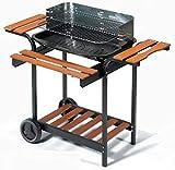 Ompagrill Barbecue 65-50/LX-ECO | Barbecue in Acciaio Verniciato con Carrello | Altezza: 96cm, Dimensioni griglia: 60x40cm, Peso: 18 kg