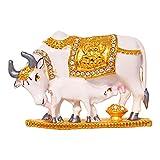 ART N HUB Brass 24 K Gold Plated with Stones Cow N Calf Idol Kamdhenu Cow and Calf Statue , Mahadev Mount / Nandi Handicraft Decorative Spiritual Puja Vastu Showpiece Figurine - Religious Pooja Gift Item & Murti for Mandir / Temple / Home / office