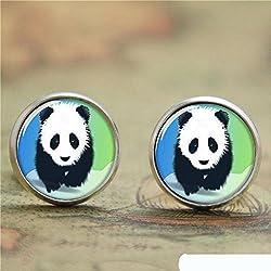 Pendientes de cristal de panda chino vintage de lujo, pendientes hechos a mano, poste de plata, joyas para mujeres