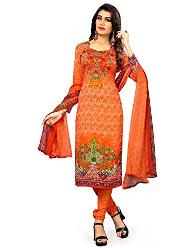 Jevi Prints Women's Unstitched Synthetic Crepe Orange Floral Printed Salwar Suit Dupatta...