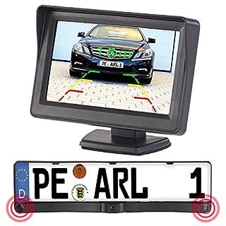 Lescars Rückfahrkameras: Farb-Rückfahrkamera im Nummernschildhalter m. Monitor & Abstandswarner (Rückfahrkameras mit Monitoren)