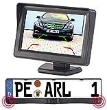 Lescars Rückfahrwarner: Farb-Rückfahrkamera im Nummernschildhalter m. Monitor & Abstandswarner (Auto Rückfahrhilfe)