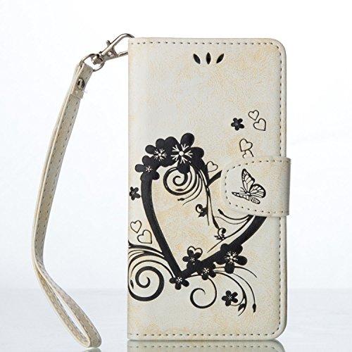 Qiaogle Telefon Case - PU Leder Wallet Schutzhülle Case für Apple iPhone 7 (4.7 Zoll) - RX04 / Rote Love Heart Bouquet RX05 / Weiß Love Heart Bouquet